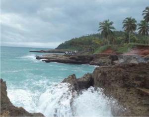Fig. 2. Fotografías que muestras las terrazas marinas levantadas más recientes (Holoceno) cerca de Nagua (izquierda) y Bahía Francés por Samaná (derecha), así como el grupo de estudiantes del ITECO, futuros geólogos dominicanos, en pleno trabajo de campo. La plataforma de erosión marina más reciente, debe de ser con probabilidad, incluso histórica.