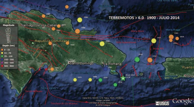 Figura 1 Mapa de Google earth mostrando los Terremotos según el catálogo de eventos sísmicos del Servicio geológico de los Estados Unidos (USGS) ocurridos en los alrededores del Canal de La Mona desde el 1900 hasta el presente con magnitud por encima de 6.0 en la escala Richter. Se muestran en líneas rojas, los principales lineamientos estructurales geológicos activos (modificado de Mann et al, 1991, Mondziel et al. , 2010 y Carbó et al., 2005). Con una estrella verde se ubica el pasado temblor de mayo 28, 2014