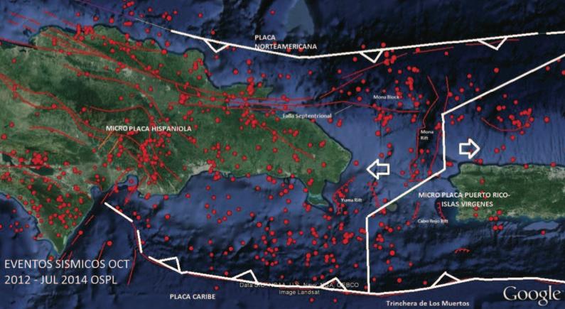 Figura 2. Mapa tomado de Google earth mostrando la distribución de la sismicidad de los alrededores del Canal de La Mona según los registros entre finales del 2012 y mediados del 2014 por la Red del Loyola según sismogramas recibidos a través del Instituto de Investigación para Sismología (IRIS). Con líneas rojas se representan las principales estructuras geológicas presumibles como activas dentro de la microplaca Hispaniola y parte de la microplaca Puerto Rico-Islas Vírgenes. Los globos rojos representan epicentros de los sismos registrados con tamaños en proporción a su magnitud pero sin diferenciar su profundidad. Con líneas gruesas blancas los límites propuestos por diferentes autores que mejor definen a nuestro criterio los contactos entre las micro- placas o terrenos al Norte de la Placa del Caribe.