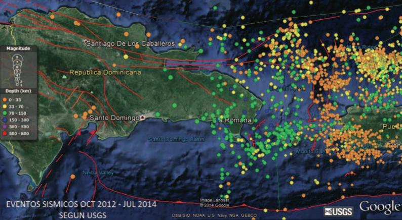 Figura 3. Mapa tomado de Google earth mostrando los eventos registrados por los sismógrafos del USGS desplegados en Puerto Rico y Punta Cana (RD) para la región del Canal de La Mona en el período Octubre 2012 a Julio 2014. Los globos de colores representan los epicentros de los eventos sísmicos. A la izquierda del mapa se muestra la leyenda de colores para los hipocentros (profundidades) y magnitudes.